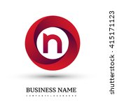 n letter logo in the red circle.... | Shutterstock .eps vector #415171123