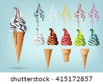 Stock vector template colorful ice cream in the cone different flavors vector 415172857