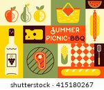 picnic card in trendy vintage... | Shutterstock .eps vector #415180267