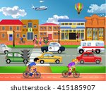 busy traffic in town   Shutterstock .eps vector #415185907
