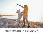 Female With Retriever Dog...