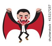 Dracula with wing cape in flat style, vector