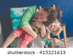 portrait of  young mother with... | Shutterstock . vector #415221613