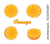 set of fresh ripe oranges
