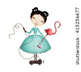 isolated mechanical girl and... | Shutterstock . vector #415256677