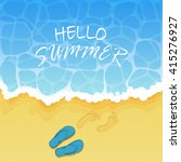 Lettering Hello Summer On Wate...
