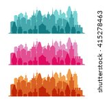 set of cityscape colorful... | Shutterstock . vector #415278463