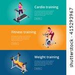 banner set fitness woman... | Shutterstock .eps vector #415293967
