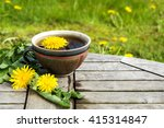 tea from dandelion  in a rustic ... | Shutterstock . vector #415314847