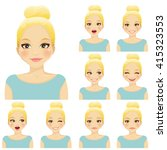 blond woman with different... | Shutterstock .eps vector #415323553
