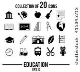 education icon set. vector... | Shutterstock .eps vector #415345213