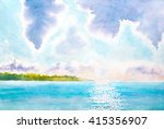 watercolor landscape with lake  ... | Shutterstock . vector #415356907