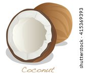 coconut cut vector on white... | Shutterstock .eps vector #415369393