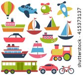 colorful transport icons... | Shutterstock . vector #415373137