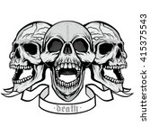 gothic coat of arms with skull  ... | Shutterstock .eps vector #415375543