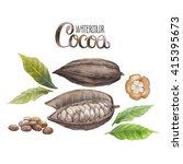 watercolor dried cocoa fruit... | Shutterstock . vector #415395673