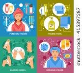 personal morning hygiene items... | Shutterstock .eps vector #415397287
