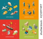 logistic concept 4 isometric... | Shutterstock .eps vector #415397497