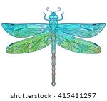 zentangle stylized dragonfly.... | Shutterstock .eps vector #415411297