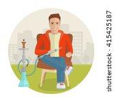 vector man smoking hookah.... | Shutterstock .eps vector #415425187