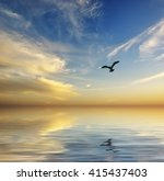 seagull floating on the waves | Shutterstock . vector #415437403