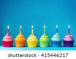 birthday cupcakes in rainbow... | Shutterstock . vector #415446217