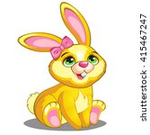Bright Yellow Bunny With Pink...