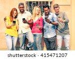 row of multiracial happy... | Shutterstock . vector #415471207