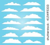 set of vector clouds on blue... | Shutterstock .eps vector #415495333