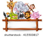 african animals with blank sign | Shutterstock . vector #415503817