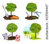 set of tree planting  work in... | Shutterstock .eps vector #415504447
