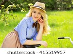 young beautiful woman with... | Shutterstock . vector #415519957