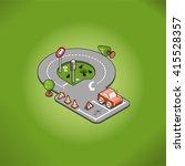 miniature car on a parking lot... | Shutterstock .eps vector #415528357