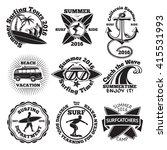 set of vintage surfing labels... | Shutterstock .eps vector #415531993