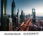dubai skyline in sunset time ... | Shutterstock . vector #415559977