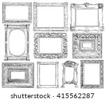 set of vintage frame in draw ... | Shutterstock . vector #415562287