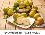 Pears In The Basket And Sliced...