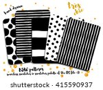 black and white patterns   set... | Shutterstock .eps vector #415590937