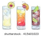 hand drawn set of watercolor... | Shutterstock . vector #415601023