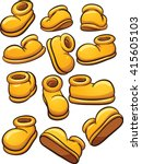 yellow cartoon shoes. vector... | Shutterstock .eps vector #415605103