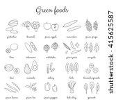 hand drawn outline green fruits ... | Shutterstock .eps vector #415625587