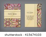 vintage cards with floral... | Shutterstock .eps vector #415674103