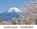 lake tanuki and cheery blossom | Shutterstock . vector #415682803