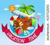 vacation time with bag and... | Shutterstock .eps vector #415712053