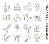 set of line web icons of party  ... | Shutterstock .eps vector #415724983