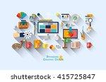 flat web banner template design ... | Shutterstock .eps vector #415725847