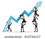 team businessman grow up graph... | Shutterstock .eps vector #415726117