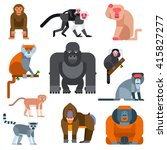 Set Of Cartoon Monkeys Vector...