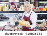 happy man holding various... | Shutterstock . vector #415836853