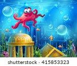 Atlantis Ruins Cartoon Octopus...